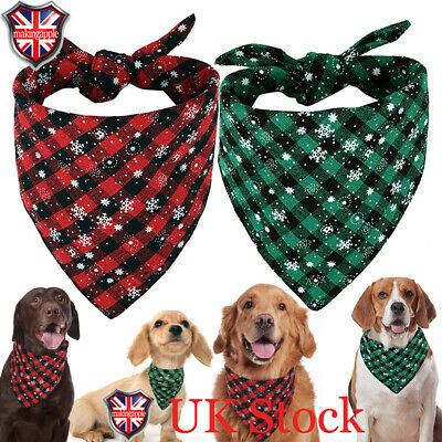 Pet Christmas Scarf Cat Dog Bandana Handkerchiefs Bibs Costume Festival Puppy UK