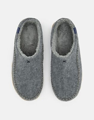 Joules Mens Felt Mule Slip On Slippers With Hard Sole in GREY MARL