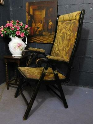 A GOOD ANTIQUE 19th CENTURY FOLDING CAMPAIGN FEATURE CHAIR