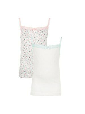 John Lewis Girls' Floral Bee Cami Vest 2 Pack / White 6 Years New Free P&P