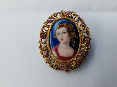 18ct GOLD AND TOPAZ ANTIQUE HAND PAINTED AND ENAMELLED MINIATURE PORTRAIT BROOCH