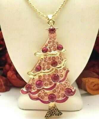 Betsey Johnson Lovely Pink With And Pink Christmas Tree Pendant Necklace