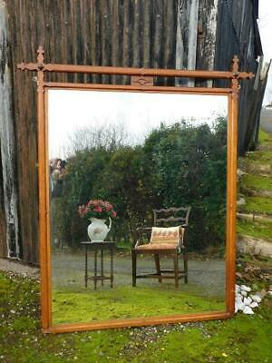 A VERY LARGE ARTS AND CRAFTS GOTHIC ANTIQUE OAK FRAMED MIRROR - 70 inch high