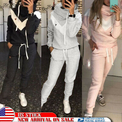 2Pcs Womens Sports Hoodie Tops Pants Tracksuit Sweatshirt Sweat Suit Jogging Set