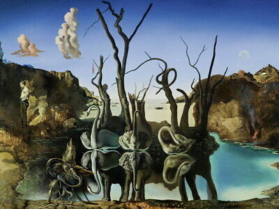 64763 Salvador Dali Swans Reflecting Elephants Wall Print POSTER AU