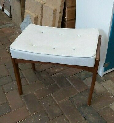 Vintage Retro Dressing Table Stool Teak Leatherette Seat 1960s/70s