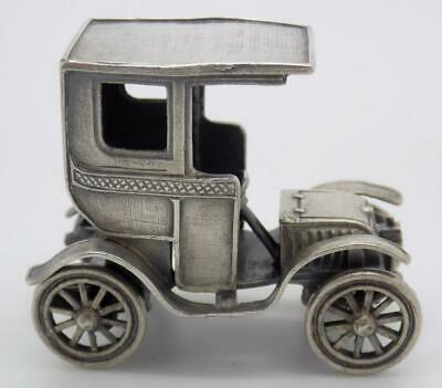 Vintage Solid Silver Italian Made Large Old Car Miniature Hallmarked Figurine