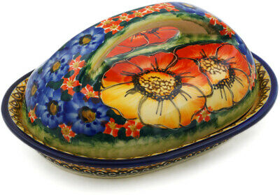 "Polish Pottery Butter Dish 7"" Bright Beauty UNIKAT"