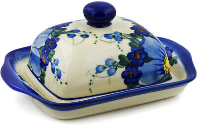 "Polish Pottery Butter Dish 7"" Himalayan Blue Poppy UNIKAT"
