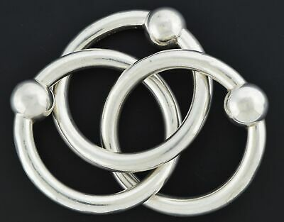 Tiffany & Co 925 Sterling Silver Triple Ring Interlocking Baby Rattle Teether