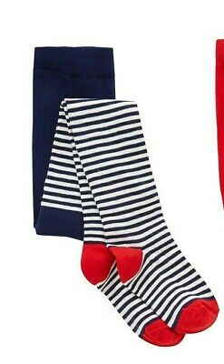 John Lewis Girls' Stripe Tights Navy / Red 7-8 Years Brand New Free P&P