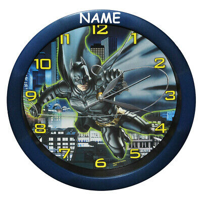 "Watch Batman "" the Dark Knight "" Incl. Name - 29 cm Large Wall Clock - for Kids"