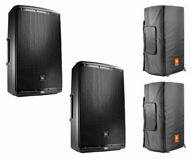 2x JBL EON615 Active Speaker Powered Monitor Loudspeaker + Convertible Covers