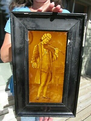 ANTIQUE 1800's ''THE VIOLIN PLAYER'' CERAMIC TILE FROM ENGLAND ? FRAMED STUNNING
