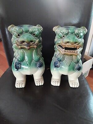 """Vintage Pair Chinese Ceramic Temple Lion Foo Dogs Green/Blue Unmarked 10"""""""