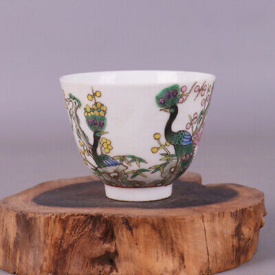Chinese Qing Dynasty porcelain Hand painted peacock cup Home decoration