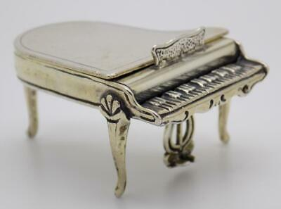 Vintage Solid Silver Italian Made Large Piano Miniature Box Hallmarked Figurine