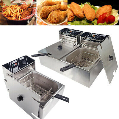 Commercial Electric Deep Fryer Chip Fat Fryer Stainless Steel Single / Twin Tank