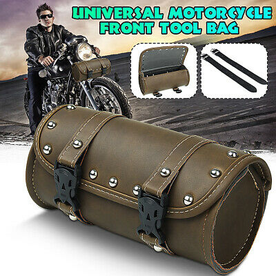 Motorcycle Cruiser Tool Saddlebag Leather Round Front Shape  Handlebar Fork Bag