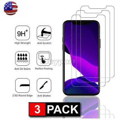 3-Pack For iPhone 11 Pro 11 Pro Max X Xs Max XR Tempered Glass Screen Protector