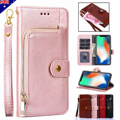 Fr iPhone 11 Pro Max 6s 7 8 XR Wallet Case Zipper Card Pocket Flip Leather Cover