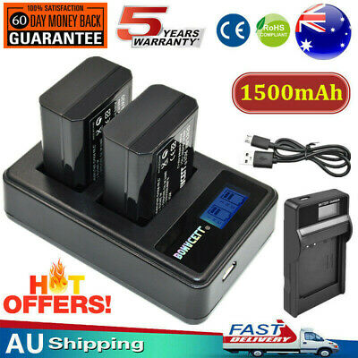 2x 1500mAh NP-FW50 Battery / LCD Charger for Sony Alpha A5000 A6000 A6300 A6500