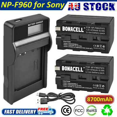 8700mAh NP-F960 Battery /USB LCD Charger for Sony NP-F970 NP-F950 NP-F930 NP-930