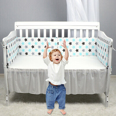 Baby Bed Cotton Crib Bumper Pads For Portable Washable Safe Bumper Protectors US