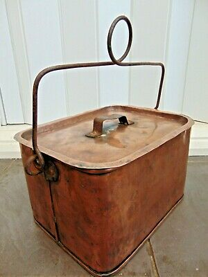 Antique French Primitive Hand Made Copper Casserole Cooking Stew Pot Roaster