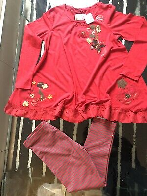 Bnwt Girls Next Red Dress/Tunic & Leggings Outfit Set Age 12 Yrs
