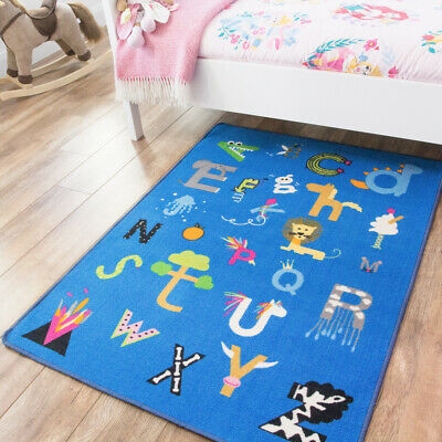 Blue Animals & Letters Playmats | Multicoloured Kids Bedroom Rug | Learning Mats