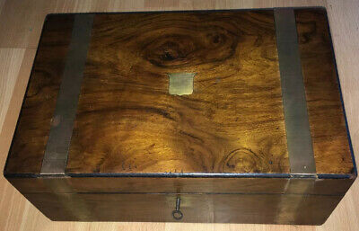 Victorian Antique Walnut Brass Banded Writing Slope Box Bureau With Key Ink Well