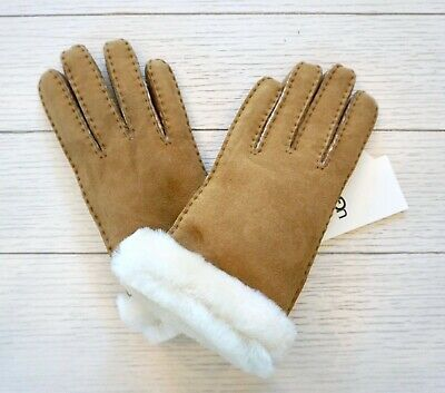 NWT $155 UGG Women's  Shearling & Suede Leather Gloves, Chestnut, 15108, Size L