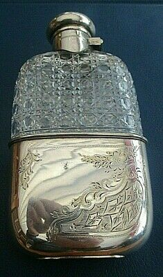 Stunning Antique Silver Plated & Hobnail Cut Glass Hip Flask