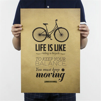 life is like riding a bicycle poster cafe bar decor  kraft paper wall stick-W lc
