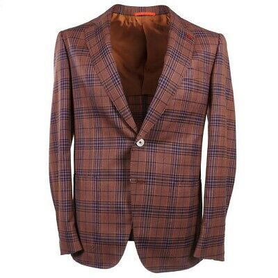 NWT $3490 ISAIA Orange-Blue Check Super 140s Wool Sport Coat 38 R Gregory