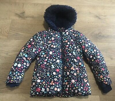 George girls navy blue coat 5-6 years padded floral woodland creature J80