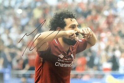 Mohamed Salah Authentic Signed 12X8 Liverpool Photo Aftal#198