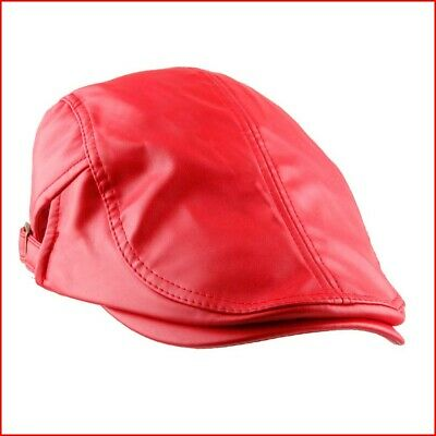 KYEYGWO Flat Caps for Men, PU Leather Newsboy Peaked Cabbie Ivy Gatsby Beret Hat