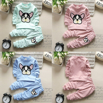 2PCS Baby Boys Girl T Shirt Tops+Pants Outfits Set Kids Winter Fall Tracksuit AD