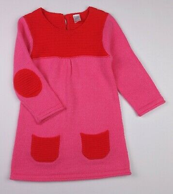 Baby Girls Clothes NEXT Pink/Red Knitted Winter Dress Outfit 12-18 Months BNWoT