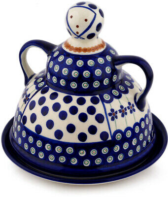 """Polish Pottery Cheese Lady 8"""" Flowering Peacock"""