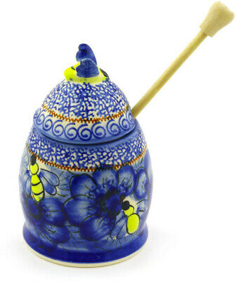 "Polish Pottery Honey Jar with Dipper 6"" Midnight UNIKAT"