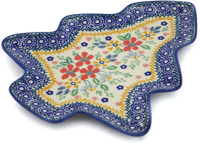 "Polish Pottery Tray 9"" Ruby Bouquet UNIKAT"