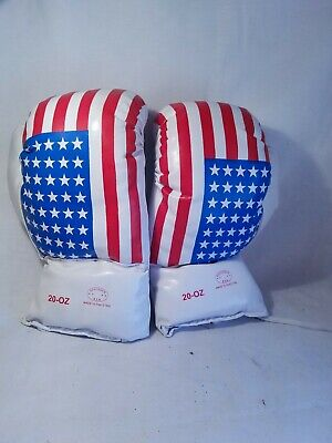 20 OZ BOXING PRACTICE TRAINING GLOVES USA MMA Sparring Punch American Flag KMAG
