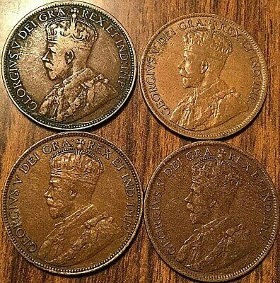 1916 1917 1918 1919 Set Of 4 George V Canada Large Cents.