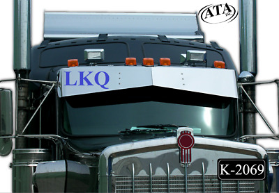 OUTLAW CUSTOMS NO DRILL 2007 UP KENWORTH 13x9 BOWTIE STAINLESS DROP VISOR K-2069