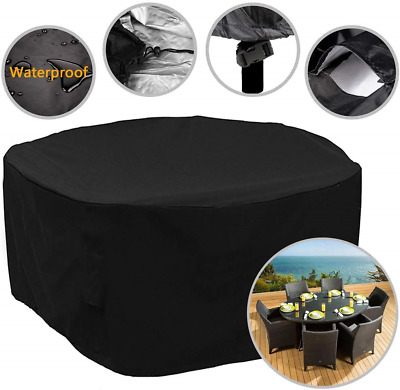 FIDOOVIVIA Garden Furniture Cover Round Garden Table Cover 420D Heavy Duty Round