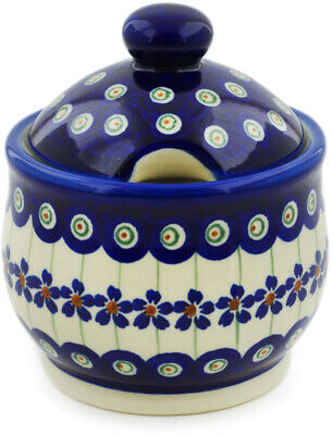 Polish Pottery Sugar Bowl 9 oz Flowering Peacock