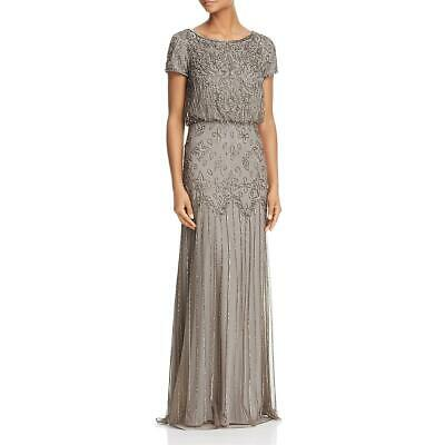 Adrianna Papell Womens Gray Chiffon Embellished Formal Dress Gown 8 BHFO 9134